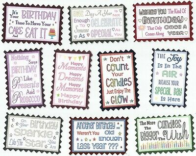 £1.75 • Buy 10 HAPPY BIRTHDAY Mini Quote Toppers Card Craft Scrapbook Messages*NEW DESIGNS*
