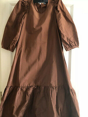 $43.28 • Buy Zara Voluminous Tafetta Dress Poplin Style Loose Midi 8436/201 Brown XS S M L XL