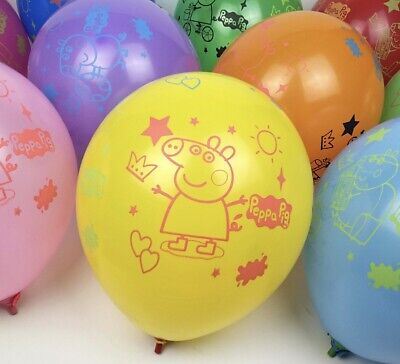 Official 12  Peppa Pig George Birthday Party Latex Mixed Colour Balloons Decor. • 3.49£
