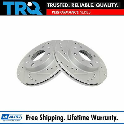 $59.95 • Buy TRQ Performance Disc Brake Rotor Drilled & Slotted Front G-Coated Pair