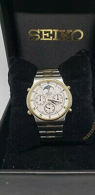 $ CDN250 • Buy Vintage SEIKO Sports 100 7A48 Gold Silver Moon Phase Men's Chronograph Watch