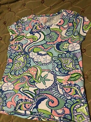 $9.99 • Buy Lilly Pulitzer Misses Sz Large Top Shirt Blouse Knit Spandex Cotton Short Sleeve