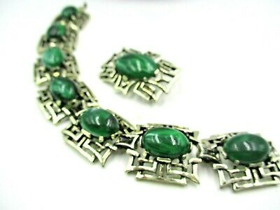 $19.95 • Buy Vintage Sarah Coventry Bracelet Brooch SET  Gold Tone Faux Green Malachite Cabs