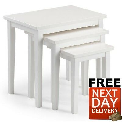 New Julian Bowen Cleo Oak Nest Of Tables In Pure White - NEXT DAY Delivery • 55£