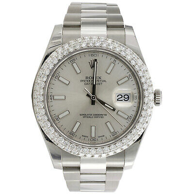 $ CDN15727.44 • Buy Mens Rolex DateJust II 41mm Daimond Watch Ref # 116300 Silver Stick Dial 4.64 CT