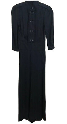 $40 • Buy LAMB Gwen Stefani Black Jumpsuit Fall 2007 Collection Tuxedo Ruffle Sz 2