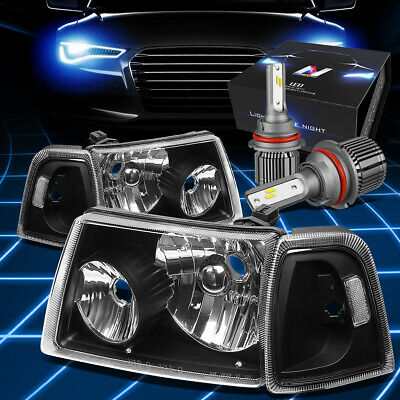 $110.27 • Buy Fit 2001-2011 Ford Ranger Signal Headlight Lamp W/LED Kit+Cool Fan Black/Clear