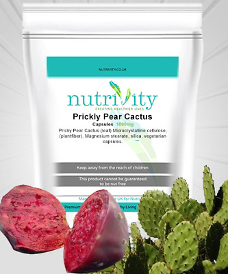 Prickly Pear Opuntia Cactus 1000mg Veggie Capsules With Silica By Nutrivity • 15.99£