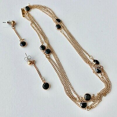 $1.50 • Buy Signed SARAH Vintage Black Glass Crystal Gold Tn Chain Necklace Earrings SET 798