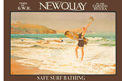 £3.99 • Buy VINTAGE GWR RAILWAY POSTER Newquay Cornwall Art Deco Surfer Surfing  PRINT A3 A4