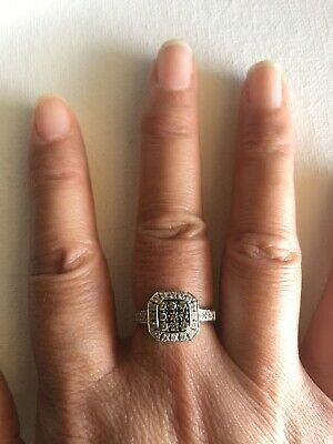 $450 • Buy LeVian 14kt White Gold Chocolate And Vanilla Diamond Halo Ring Sz 7 4.8 Gm