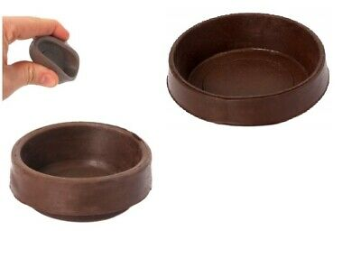 4 X RUBBER CASTOR CUPS < SMALL Or LARGE > Brown Chair/Sofa Floor Protector Grip • 4.29£