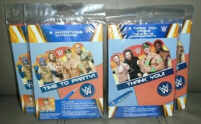 WWE Party Invitations And Thank You Post Cards With Envelopes 4 Packs Total NEW • 7.01£