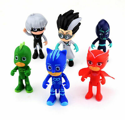 PJ Masks Action Figures Set 6PCS Catboy Owlette Gekko Toys Kids Gift Cake Topper • 10.49£