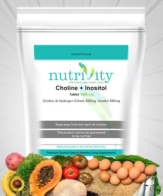 £6.99 • Buy Choline & Inositol 1000mg Tablets Supplement For Brain Health Made Nutrivity UK