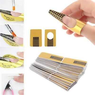 AU3.95 • Buy Nails Gel Extension Sticker Nail Art Acrylic Gold Nail Forms Tips Guide AU Stock