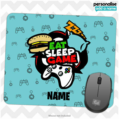 Personalised EAT SLEEP GAME Mouse Mat Pad Kids Boys Gamer Gift Computer Room • 4.95£