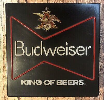 $ CDN130.34 • Buy Vintage BUDWEISER King Of Beers Lighted Beer Sign Neon Look Working 18x18