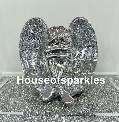 £24.99 • Buy Crushed Diamond Silver Crystal, Sitting, Kneeling Angel, Sparkly Gift, Bling✨