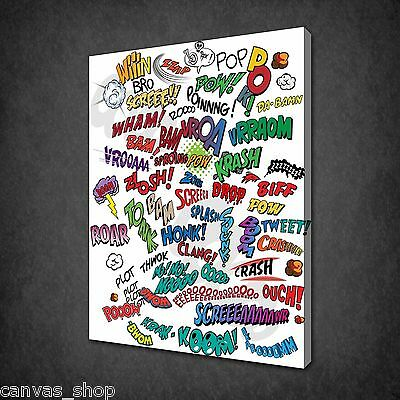 Comic Book Design Funky Kids Wall Art Canvas Print Picture Ready To Hang • 21.85£