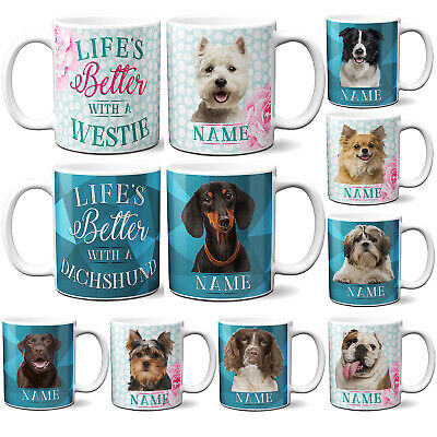 Personalised Dog Breed Mug Puppy Cup Christmas Gift Present WITH GIFT BOX • 10.95£