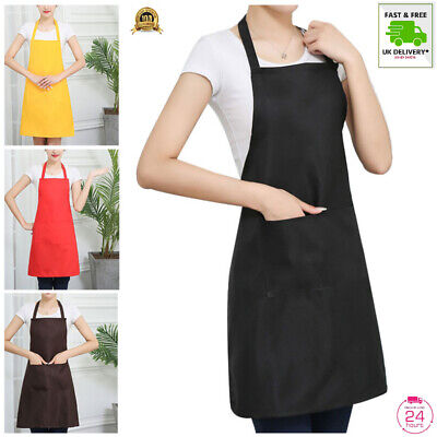 £3.75 • Buy New Plain Apron Uk With Front Pocket Chefs Butchers Kitchen Cooking Craft Baking