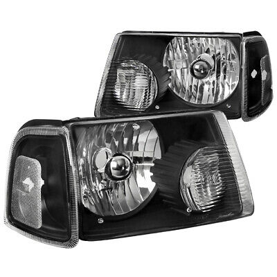 $72.99 • Buy For 2001-2011 Ford Ranger Black Crystal Headlights+Corner Turn Signal Lights