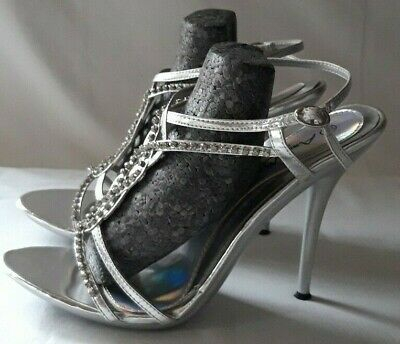 £5 • Buy Anne Michelle Silver Diamante Wedding Party Sandals - Size 6 - Worn Once