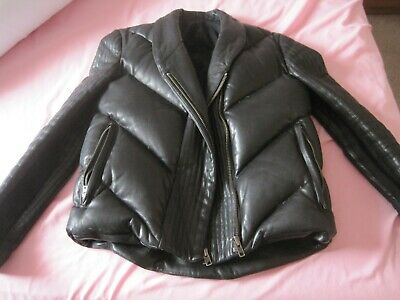 Rick Owens Black Lambskin Leather Down Filled Puffer Short Bomber Jacket Uk 8 • 525£