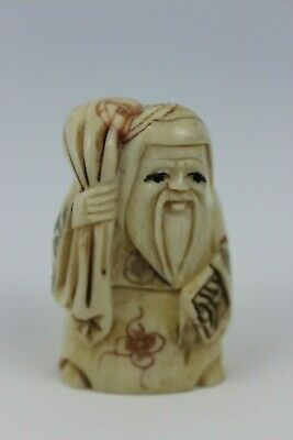 Japanese Resin Netsuke Old Man With A Bag Figure  Hand Craved Signed 5cm • 135£