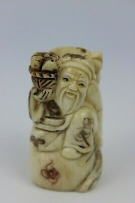 Japanese Resin Netsuke Old Man With Peaches Basket Figure Hand Craved Signed 5cm • 135£