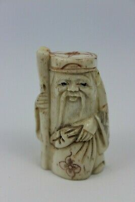 Japanese Resin Netsuke Old Man With Stick  Figure Hand Craved Signed 5cm • 135£