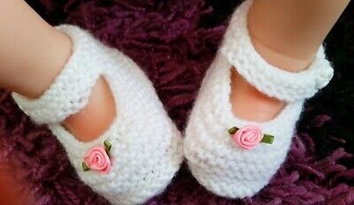 Hand Knitted Baby Shoes 0-3 Months Mary Jane Shoes, White Baby Booties  • 3£