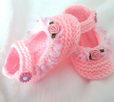 Mary Jane Hand Knitted Baby Shoes Pink 0-6 Months Baby Girl Booties • 4£