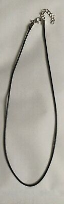 "1 X 2mm Black Wax 18"" PU Leather Cord Necklace Rope Pendant With Lobster Clasp  • 1.25£"