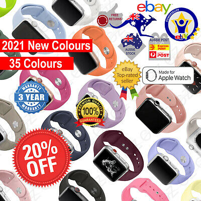 AU5.85 • Buy NEW Sport Silicone Strap Band For Apple Watch Series SE 6 5 4 3 21 38 40 42 44mm