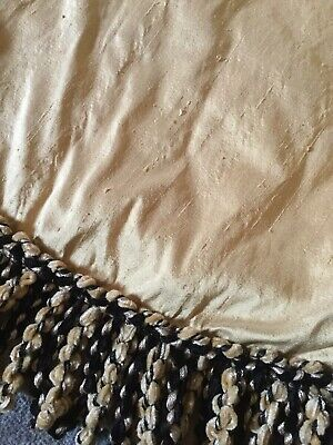 """Gold French Style Round 73"""" Shot Silk Padded Table Cloth Cover Protector Tassel • 18£"""