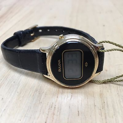 $ CDN22.73 • Buy Vintage 1979 Bulova Lady Gold Tone Oval LCD Digital Watch Hours~for Parts Repair