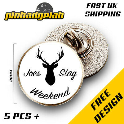 20mm Custom Personalised Wedding Stag Do Party Pin Badges • 22.95£