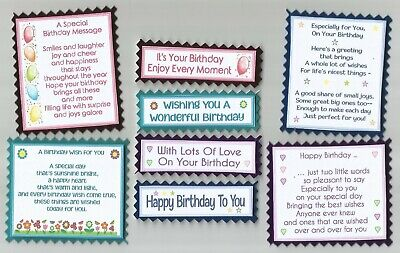 £2.10 • Buy 4 HAPPY BIRTHDAY Greeting Card Craft Verse Toppers W/WO Sentiments*NEW DESIGNS