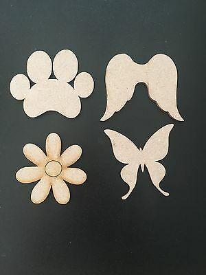 Wooden MDF Shapes Wings, Paws, Baby Feet, Trains, Butterflies Embellishments, Cr • 1.85£