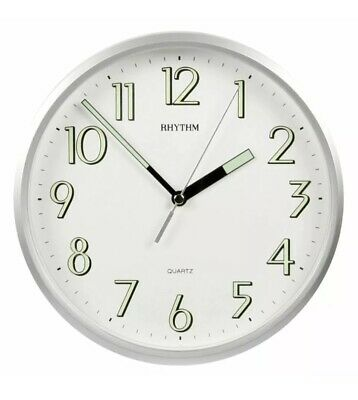 Rhythm 10  25cm Kitchen Wall Clock With Silver Finish And Super Luminous Hands • 22.99£