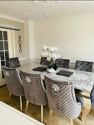 £489 • Buy Louis Grey Marble 150CM Dining Table + Grey Lion Knocker Velvet Dining Chairs