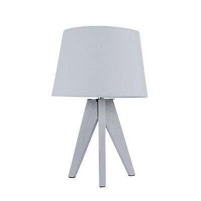 £21.99 • Buy Grey Natural Wooden 35cm Tripod Table Lamp Bedside Light Grey Fabric Shade