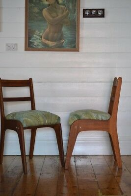 AU220 • Buy Vintage Mid Century Wooden Chair Tropical Fern Fabric : Price For One Chair Only