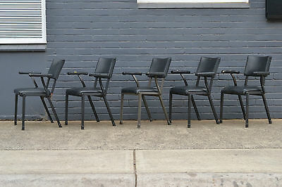 AU320 • Buy Vintage Mid Century 5 X Black Dining / Kitchen Chairs Heavy Metal Arm Chairs ...