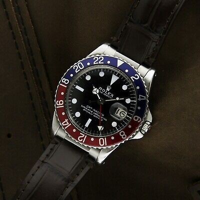 $ CDN23361.62 • Buy Rare Vintage Rolex GMT Master Ghost Pepsi 1675 Pointed Crown Guards Leather