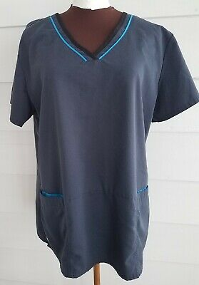 $10 • Buy Grey's Anatomy Barco Women's XL Scrub Top Gray V Neck 2 Pocket Blue Black Trim