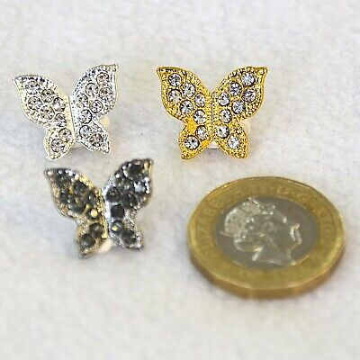 Metal Butterfly Buttons With Diamante Sparkles - Gold, Silver, Pewter Grey • 2.35£