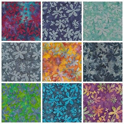Batik Fabric, Flower Print, 100% Cotton, FQ ,Crafting, Quilting Patchwork • 3.20£
